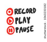 record play pause. sticker set... | Shutterstock .eps vector #1063233182