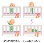 little baby in crib. baby boy... | Shutterstock .eps vector #1063242278