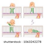 little baby in crib. baby boy... | Shutterstock .eps vector #1063242278
