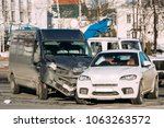 collision of two cars. crashed... | Shutterstock . vector #1063263572