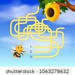 help bee find path to beehive | Shutterstock . vector #1063278632