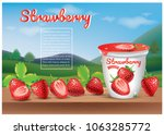 strawberry yoghurt ads... | Shutterstock .eps vector #1063285772