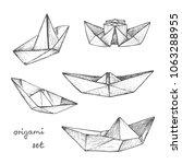origami   set of 5 gray paper... | Shutterstock .eps vector #1063288955