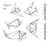 origami   set of 5 gray paper... | Shutterstock .eps vector #1063290512