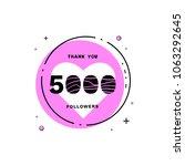5000 followers thank you card.... | Shutterstock .eps vector #1063292645