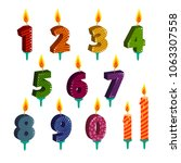 set of number candles for happy ... | Shutterstock .eps vector #1063307558