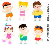 summer multicultural cute kids... | Shutterstock .eps vector #1063310312