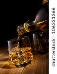 whiskey on the rocks. | Shutterstock . vector #106331366