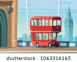 london double decker bus on... | Shutterstock .eps vector #1063316165