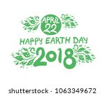 april 22. happy earth day. 2018.... | Shutterstock .eps vector #1063349672