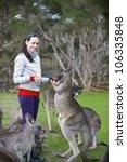 Family Feeding Kangaroos In...