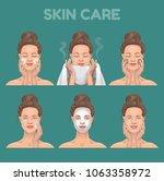 steps of skin care. vector... | Shutterstock .eps vector #1063358972