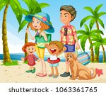 summer holiday with family on... | Shutterstock .eps vector #1063361765