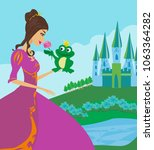 beautiful young princess and... | Shutterstock . vector #1063364282