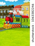 cartoon funny looking steam... | Shutterstock . vector #1063382246