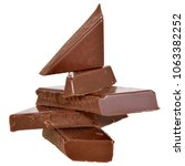cubes of chocolate isolated on... | Shutterstock . vector #1063382252