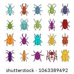 bugs icon set. color outline... | Shutterstock .eps vector #1063389692