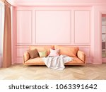 classic pink interior with sofa....   Shutterstock . vector #1063391642
