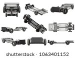 chassis frame car with wheel... | Shutterstock . vector #1063401152