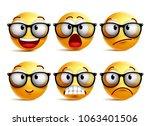 smiley face vector set of... | Shutterstock .eps vector #1063401506