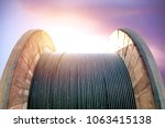 black wire electric cable on... | Shutterstock . vector #1063415138