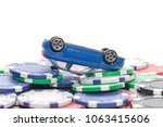 pile of casino chips and toy... | Shutterstock . vector #1063415606