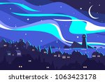 landscape of northern lights.... | Shutterstock .eps vector #1063423178