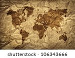 crumpled world map paper | Shutterstock . vector #106343666