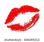 red lipstick kiss on white