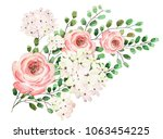 drawing with watercolor bouquet ... | Shutterstock . vector #1063454225