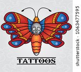 vector butterfly tattoo old... | Shutterstock .eps vector #1063477595