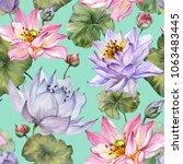 beautiful floral seamless... | Shutterstock . vector #1063483445