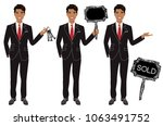 real estate agent in three... | Shutterstock .eps vector #1063491752