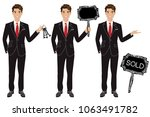 real estate agent in three... | Shutterstock .eps vector #1063491782