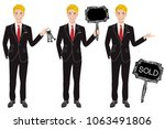 real estate agent in three... | Shutterstock .eps vector #1063491806