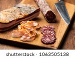 cold cut with cured meat  bacon ...   Shutterstock . vector #1063505138