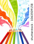 pencils drawing rainbow smoke | Shutterstock . vector #1063509158
