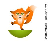 isolated red cartoon fox cub on ... | Shutterstock .eps vector #1063544795