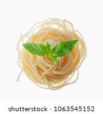 plain spaghetti tossed in olive ... | Shutterstock . vector #1063545152
