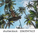 young happy female swinging on... | Shutterstock . vector #1063547615