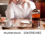 morning in the cafe  on the... | Shutterstock . vector #1063581482