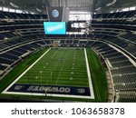 Small photo of ARLINGTON, USA - SEP 15, 2015: Interior view of the AT&T Stadium, formerly known as Cowboys Stadium in Arlington. Texas, United States
