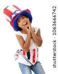 an elementary girl acting silly ... | Shutterstock . vector #1063666742