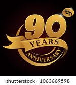 90 years golden anniversary...   Shutterstock .eps vector #1063669598