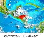 honduras highlighted in red on... | Shutterstock . vector #1063695248