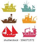 set of 9 vector ships for logo... | Shutterstock .eps vector #106371572