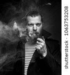 sailor man with beard smoking... | Shutterstock . vector #1063753208