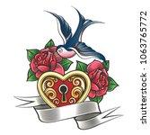 lock in the shape of a heart...   Shutterstock .eps vector #1063765772