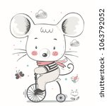baby mouse ridding on a bicycle.... | Shutterstock .eps vector #1063792052
