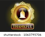 gold emblem with tombstone... | Shutterstock .eps vector #1063795706
